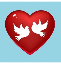 Wedding pigeons in heart vector