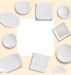 white empty ceramic plates in different points of vector image