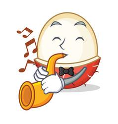 With trumpet rambutan mascot cartoon style vector