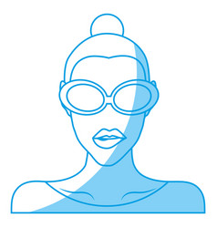 Woman with sunglasses icon vector