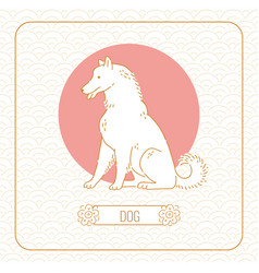 Year dog chinese horoscope line art and vector