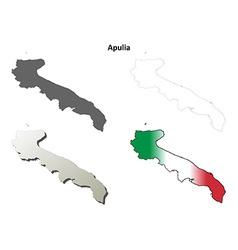 Apulia blank detailed outline map set vector image vector image