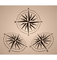 Compass roses set vector image