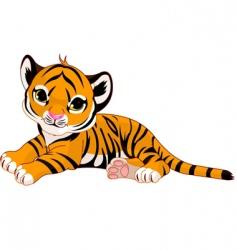 tiger cub resting vector image