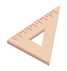 Triangle wooden ruler icon cartoon style vector image
