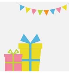 Two Gift boxes couple with ribbon and bow Present vector image