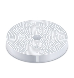 Complicated round labyrinth in isometric view on vector image