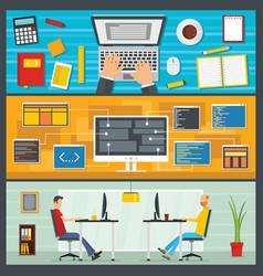 development site banner horizontal set flat style vector image vector image