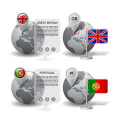 globes with map marker and state flags of great vector image vector image