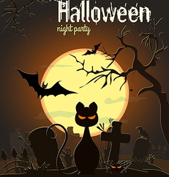 Halloween black cat and other characters on old ce vector image