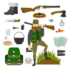 hunter with set of amunition isolated gun knife vector image vector image