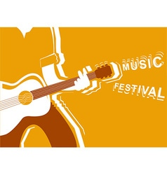 music festival poster with man musician and guitar vector image vector image