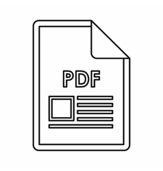 PDF file document icon outline style vector image