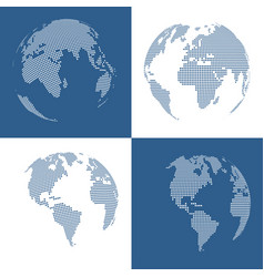 set of four 3d dotted globes vector image