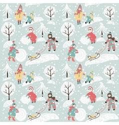 Winter background with children vector