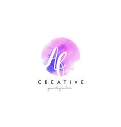 af watercolor letter logo design with purple vector image