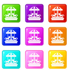 Carousel with horses set 9 vector