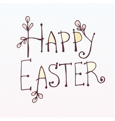 doodle inscription happy easter tree willow twig vector image