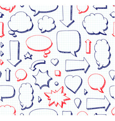 hand drawn seamless pattern of speech bubbles vector image vector image