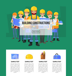 industrial building company banner with worker vector image vector image