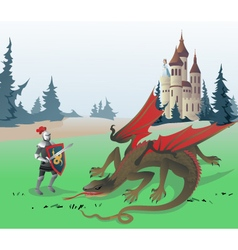 Knight fighting Dragon vector image vector image