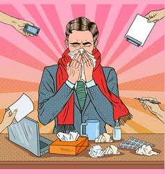 pop art businessman sneezing at office work vector image vector image