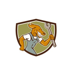 Dog Mechanic Running With Spanner Crest Cartoon vector image vector image