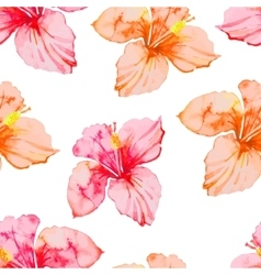 Hibiscus Tropical plants seamless pattern Exotic vector image