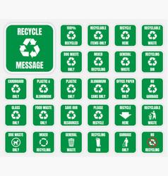 recycle symbols set vector image vector image