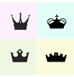 Set of four crowns silhouettes vector image
