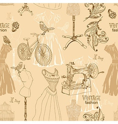 Vintage Seamless pattern - fashion and sewing vector image