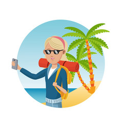 young blonde girl with backpack smartphone vector image vector image