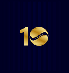 10 years anniversary celebration candy gold vector