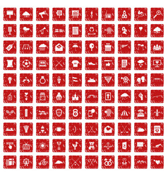 100 arrow icons set grunge red vector image
