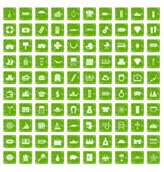 100 wealth icons set grunge green vector