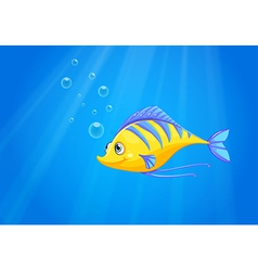 A hungry yellow fish under the sea vector