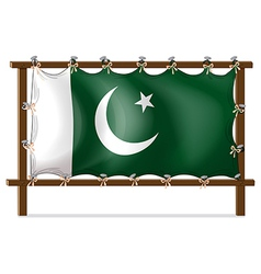 A wooden frame with the flag of Pakistan vector