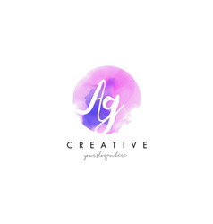 ag watercolor letter logo design with purple vector image