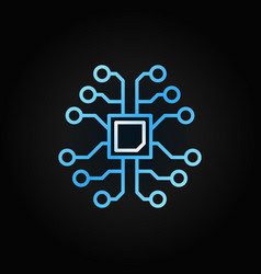 Ai brain with chip creative outline icon on dark vector