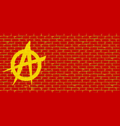 Anarchy graffiti red brick wall vector