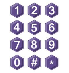artistic number set on ultraviolet hexagonal vector image