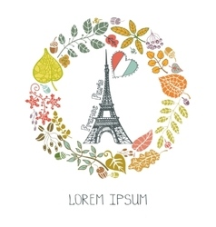 autumn in parisleaves wreath and eiffel tower vector image