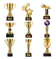 award trophy winners prize golden trophycup vector image