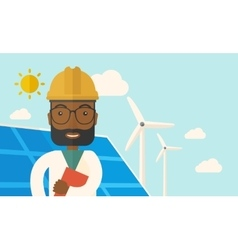 Black man in solar panel and windmills vector
