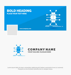 Blue business logo template for distribution grid vector