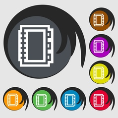 Book icon sign Symbol on eight colored buttons vector image
