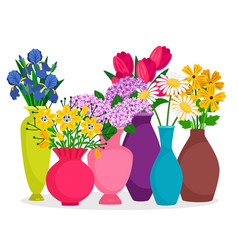 bouquets flowers in vases composition vector image