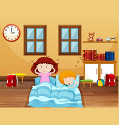 Boy and girl sleeping in bed vector