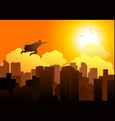 cartoon silhouette of a superhero flying on vector image