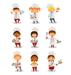 Children chefs cooking set cute boys and girls vector